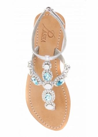 Mykonos Silver & Aqua Czech Crystal Flat Sandals