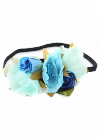 Mixed Blue Flowers Floral Head Band