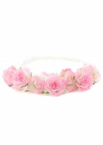 Pink Roses Garland White Plaited Head Band
