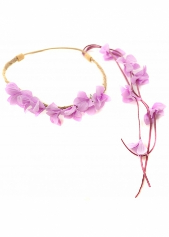Lilac Floral Head Band With Floral Side Tassel