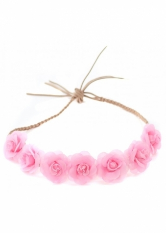 Baby Pink Small Roses Plaited Suede Tie Head Band