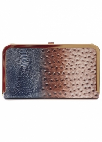 Designer Desirables Cecilia Blue & Brown Animal Print Patent Clutch Bag
