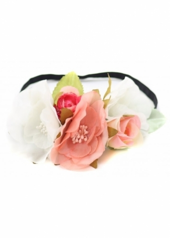 Mixed Pink & White Flowers Floral Head Band