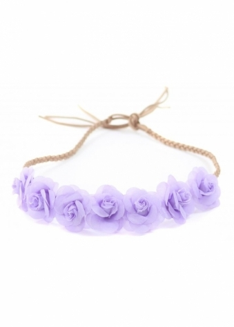 Purple Small Roses Plaited Suede Tie Head Band