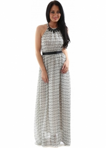 Black Print Open Back Maxi Dress With Statement Necklace