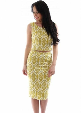 Lucy Paris Yellow Rococo Raised Pattern Pencil Skirt