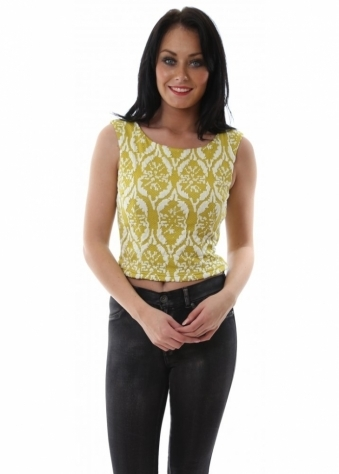 Yellow Rococo Raised Pattern Tailored Crop Top