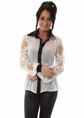 Draped Open Back Lace Sleeve Cream Shirt