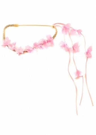 Pink Floral Head Band With Floral Side Tassel