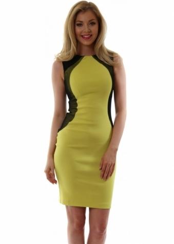 Lime Bodycon Contour Mesh Crystal Dress