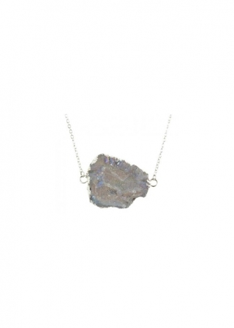 Iridescent Grey Agate Druzy Necklace Edged In Silver