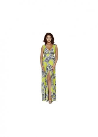 Natalie Green Printed Summer Maxi Dress
