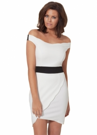 Aimee Off The Shoulder White Wrap Front Dress