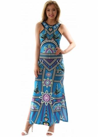 Goddess London Turquoise Blue Geometric Print Blue Sleeveless Maxi Dress