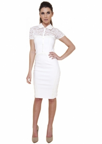 Tempest JoJo Cream Button Down Detail Pencil Dress