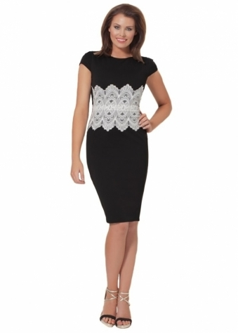 Jessica Wright Livvie Black & Ivory Lace Shift Dress