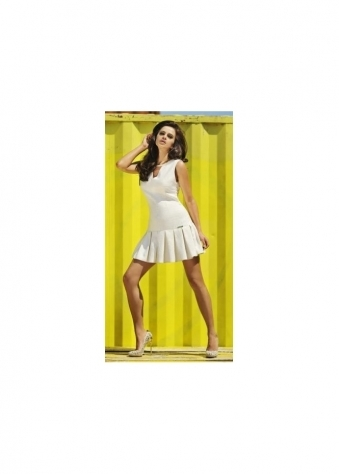 Faye Cream Box Pleat Dress With Chain Necklace