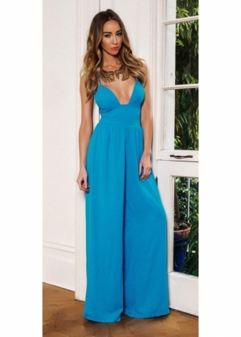 Turquoise Blue Palazzo Wide Leg Jumpsuit