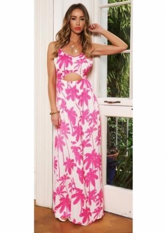 Lauren Pope Pink Tropical Print Cut Out Pretty Maxi Dress