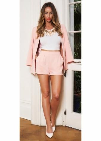 Lauren Pope Peach Tailored Side Pocket Shorts