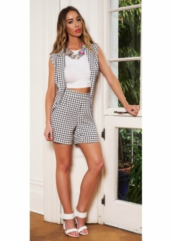 Grid Print Monochrome Tailored Shorts