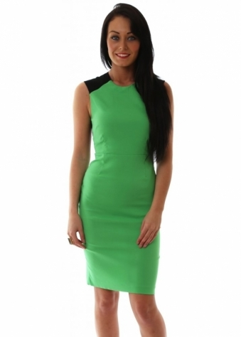 Vesper Rina Lace Back Sleeveless Green Pencil Dress