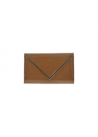 Davina Shiny Khaki Patent Clutch With Chain