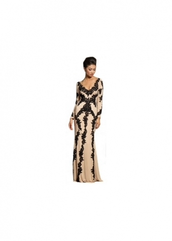 20578 Nude & Black Lace Long Sleeve Evening Gown