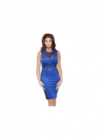 Amy Childs Eve Dress In Cobalt Blue With Mesh Insert Cut Outs