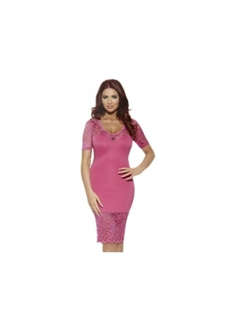 Amy Childs Fran Dress Bodycon With Pink Lace Sheer Panel