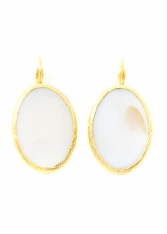 White Leaf  Mother Of Pearl Semi-Precious Disc Earrings In Gold