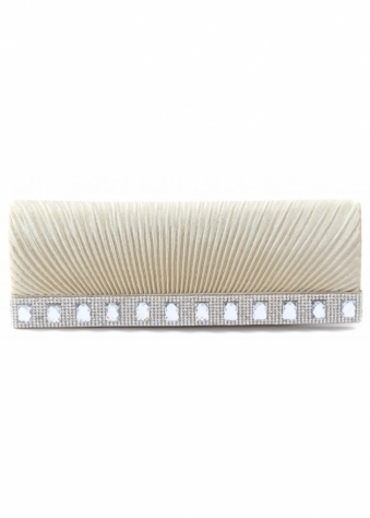 Shayla Diamante Pale Gold Ribbed Satin Clutch With Chain