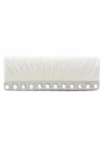 Designer Desirables Shayla Diamante Ivory Ribbed Satin Clutch With Chain