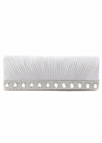 Shayla Diamante Silver Grey Ribbed Satin Clutch With Chain