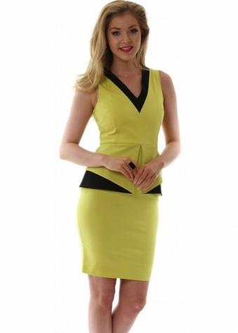 Vesper Lime With Contrast Textured Black Peplum Eleni Dress