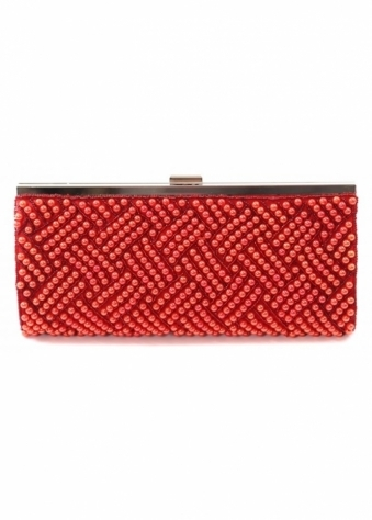 Red Pearl Clutch Bag With Silver Clasp & Chain