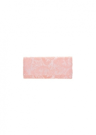 Box Clutch Bag In Baby Pink Lace With Chain Strap