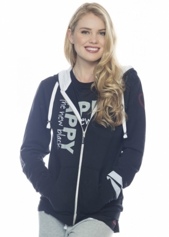 Peace Love World Happy Is The New Black L2L Black Zip Up Hoodie
