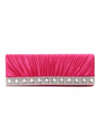 Designer Desirables Hot Pink Shayla Diamante Ribbed Satin Clutch With Chain