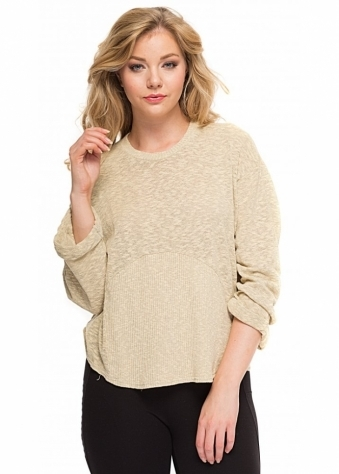 A Postcard From Brighton Maggie Textured Slub Knit Top In Morning Gold