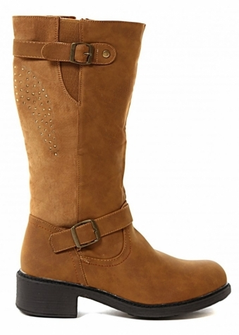 Bello Star Tan Suedette Biker Boots With Crystal Wings