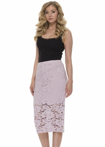 A Postcard From Brighton Leila Lace Pencil Skirt In Cameo