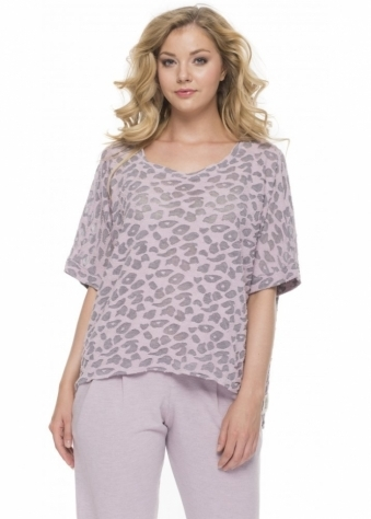 A Postcard From Brighton Belinda Burn Out Cat Melange Short Sleeved Top In Cameo