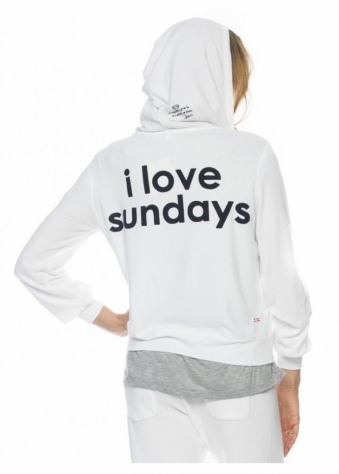 Peace Love World I Love Sundays White Comfy Hoodie