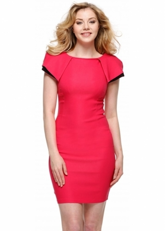 Vesper Logan Dress In Pink With Exaggerated Shoulder