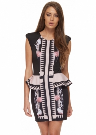 Ristau Dress Wide Shoulders With Pink Peplum Waist