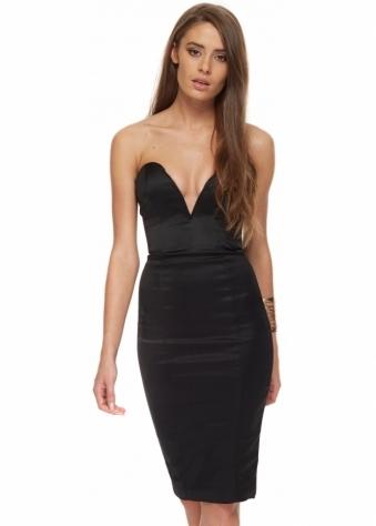 Roxy Dress Stretch Black Sateen With Boned Bustier Bodice