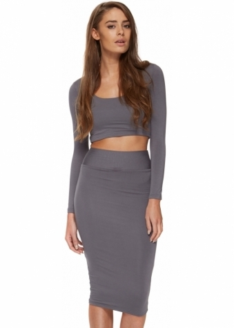 Jessica Grey Two Piece Pencil Skirt & Cropped Top
