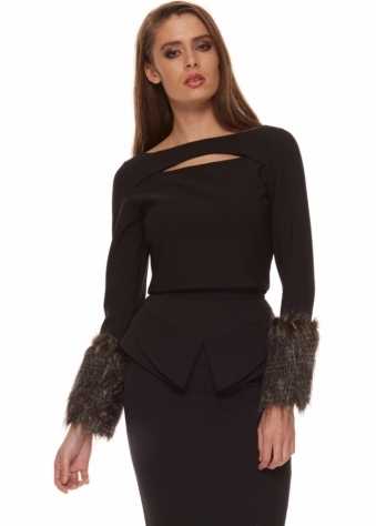 Black Cropped Top With Faux Fur Cuffs & Back Zip