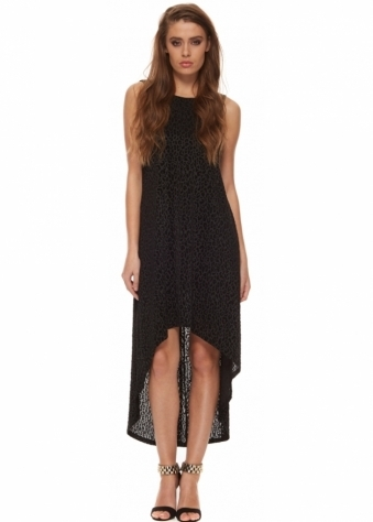 Manojlovic Black Leopard Print Dip Hem Dress